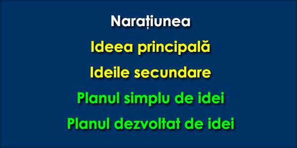 Naratiunea-Ideea-principala-Ideile-secundare-Planul-simplu-de-idei-Planul-dezvoltat-de-idei