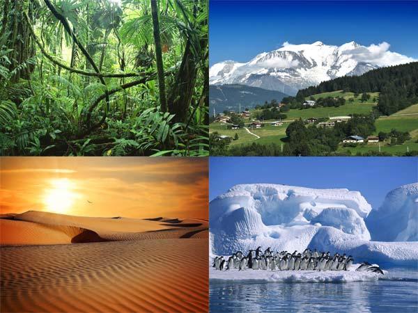 Clima ecuatorială, Climă temperat-continentală, Climă tropicală-uscată, Climă polară