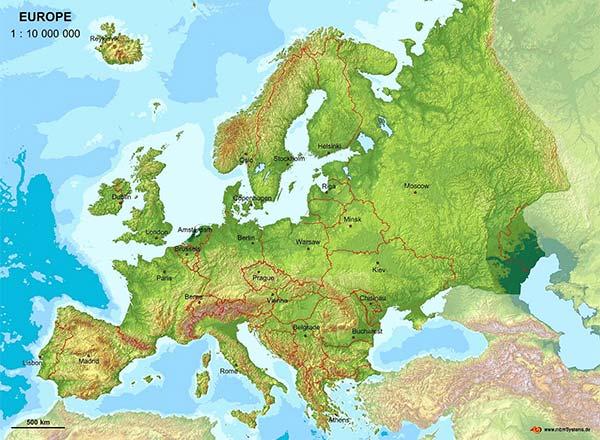 Europa: Poziţia geografică, Limitele, Întinderea