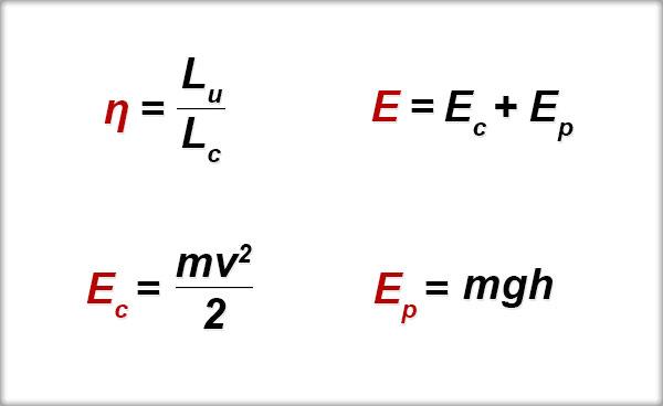 Randamentul mecanic, Energia mecanică, Energia cinetică, Energia potenţială