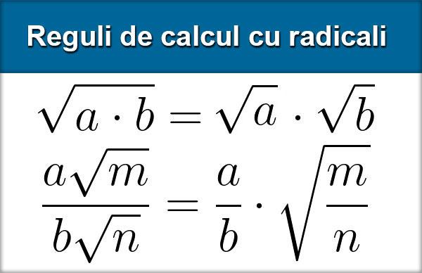 Reguli de calcul cu radicali