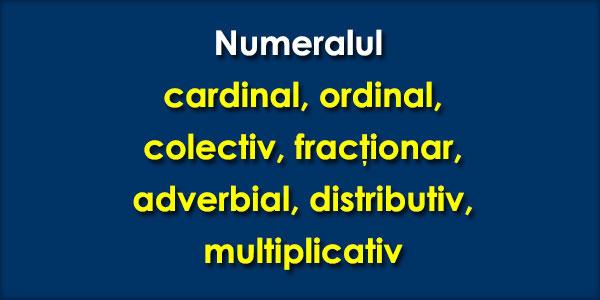 Numeralul cardinal, ordinal, colectiv, fracţionar, adverbial, distributiv, multiplicativ