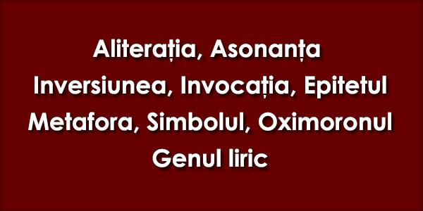 Aliteratia, Asonanta, Inversiunea, Invocatia, Epitetul, Metafora, Simbolul, Oximoronul, Genul liric