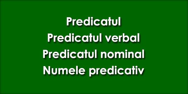 Predicatul, Predicatul verbal, Predicatul nominal, Numele predicativ