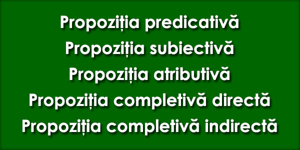 Propozitia predicativa, Propozitia subiectiva, Propozitia atributiva, Propozitia completiva directa, Propozitia completiva indirecta