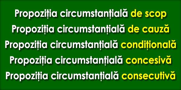 Propoziţia circumstanţială de cauză, de scop, condiţională, concesivă şi consecutivă